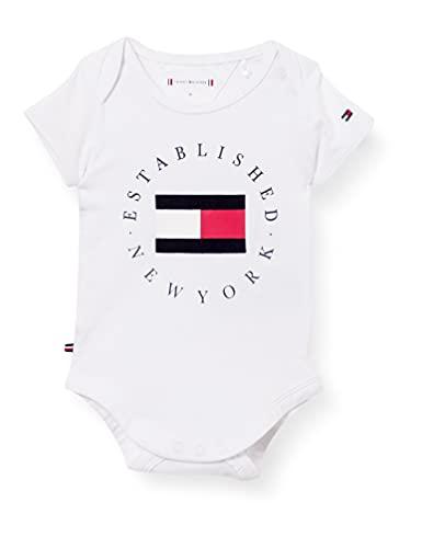 Tommy Hilfiger Baby Established Body S/S, Camiseta sin mangas Bebé-Niños, Blanco, 92 cm