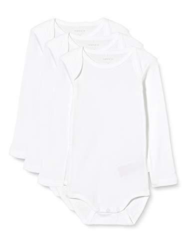 NAME IT Nbnbody 3p Ls Solid Noos Polaina, Blanco (Weiß Bright White), 92 (Pack de 3) para Bebés