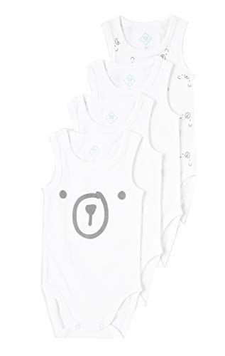 TEX - Pack 4 Bodys Unisex, Blanco Neutro, 12 Meses