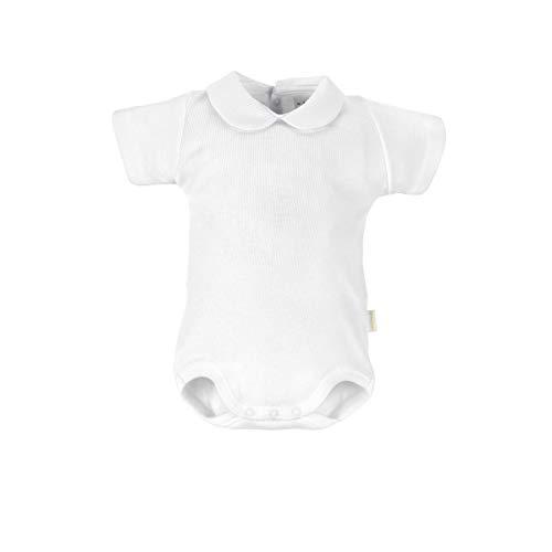 Cambrass 6310 - Body con Cuello y Manga Corta, Talla 56 cm (0 a 1 Meses), Color Blanco