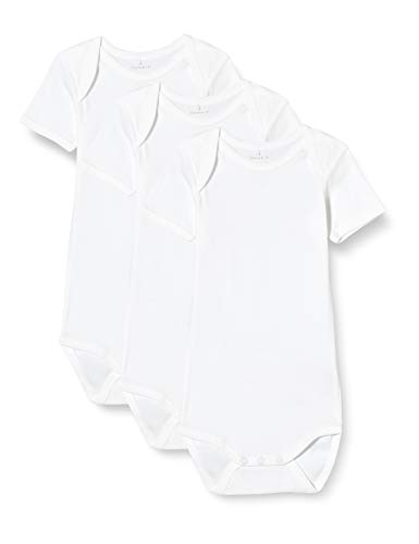 NAME IT NBNBODY 3P SS Solid White 2 Noos Body, Blanco Brillante, 9 Mes Unisex bebé