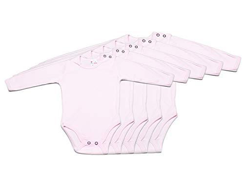 Body de manga larga para bebé, 100% algodón, pack de 5, color rosa