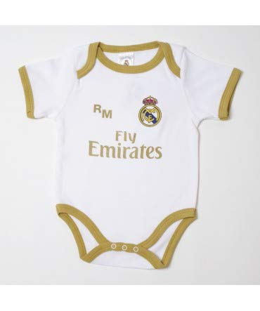 10XDIEZ Body Bebe Real Madrid 813 BCO-Ocre - Tallas bebé - 1 Mes