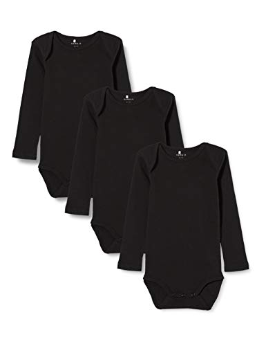 NAME IT Nbnbody 3p LS Solid Noos Polaina, Negro (Schwarz Black), 74 (Pack de 3) para Bebés