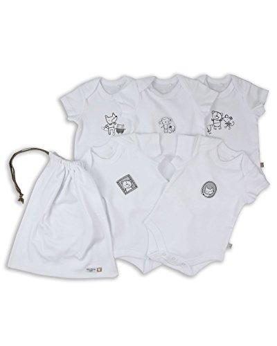 The Essential One - Bebé Niños Paquete de 5 Body Bodies de Manga Corta - Blanco - 0-3 Meses -...