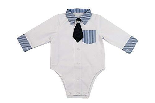 Camisa bebé niño niños Bautizo Body Camisa Boda Traje Body, 2piezas, de color blanco azul KB2...