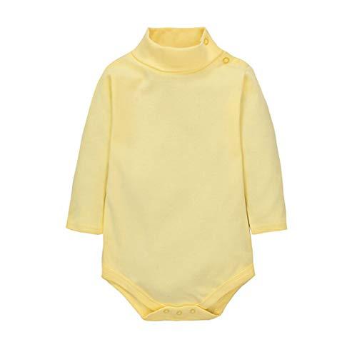 CuteOn Bebes Chicos Chicas Turtleneck Algodón Body Mono - Amarillo claro 6 Meses