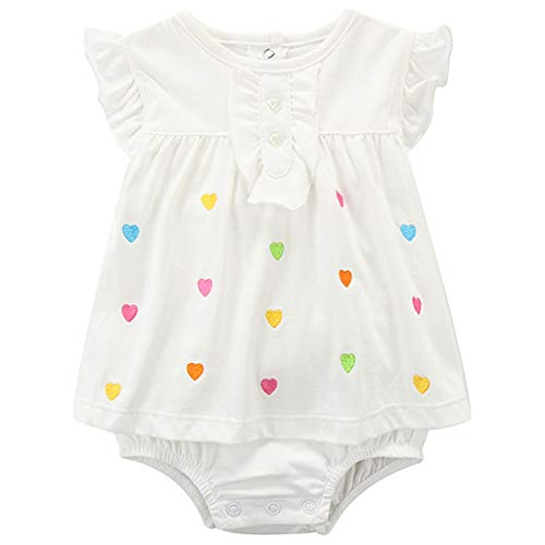 Bebé Niña Mono Sin Mangas Mameluco Body de Algodón Verano Vestido Peleles, 6-9 Meses