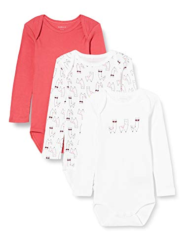 NAME IT NBFBODY 3P LS Claret Red Alpaca Noos Body, Color rojo, 3 años para Bebés