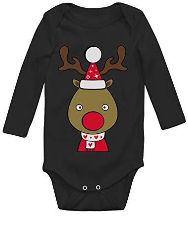 Body de Manga Larga para bebé- Navidad Ropa Bebe Recien Nacido Monos Bodies con Ciervo Reno Nariz...