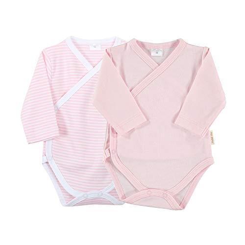 Petit Oh! - Pack de 2 Bodies Cruzados bebé algodón Pima, Talla 3-6 Meses (Rosa + Listado Rosa)