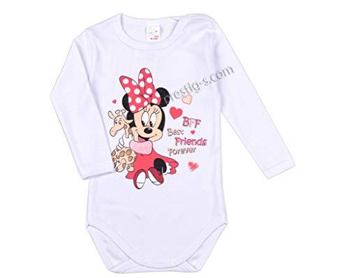 Ropa interior para bebé de Plami, 100% algodón, manga larga, de una pieza, diseño de Minnie...