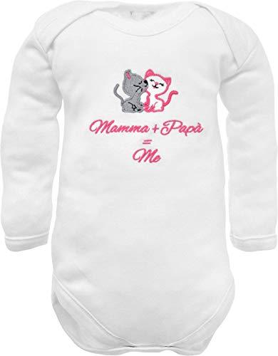 Body de bebé divertido de manga larga de cálido algodón blanco con bordado frase 50% papá 50%...