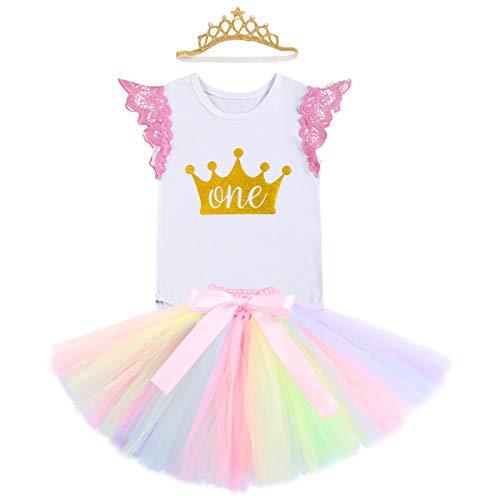 FYMNSI Infantil Bebé Niña Primer 1er Cumpleaños Traje Unicornio Mameluco Romper Falda de Princesa...