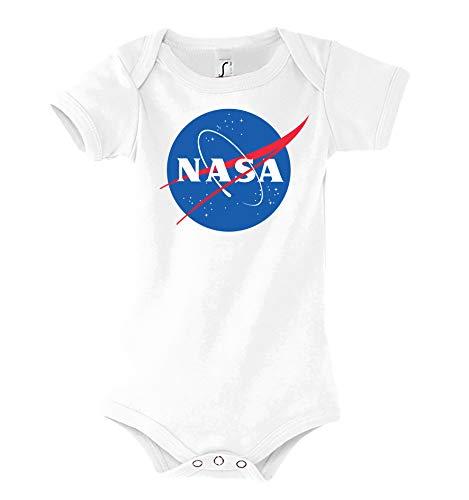 TRVPPY Body de manga corta para bebé modelo NASA, talla 3-24 meses, en muchos colores Blanco 18-24...