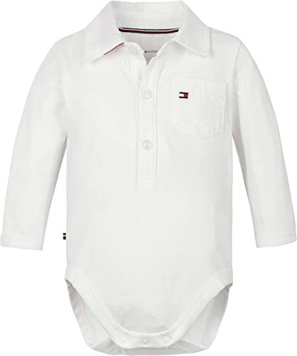 Tommy Hilfiger Baby Poplin Collar Body L/S Camiseta sin Mangas para bebés y niños pequeños,...