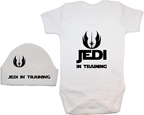 Jedi en el Entrenamiento Baby Grow/Bodysuit/Romper/T-Shirt & Beanie Hat/Cap - 0-3 Meses - Blanco