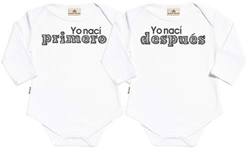 SR - Estuche de presentación - Yo nací Primero & Yo nací después - Conjunto Gemelo - Body para...