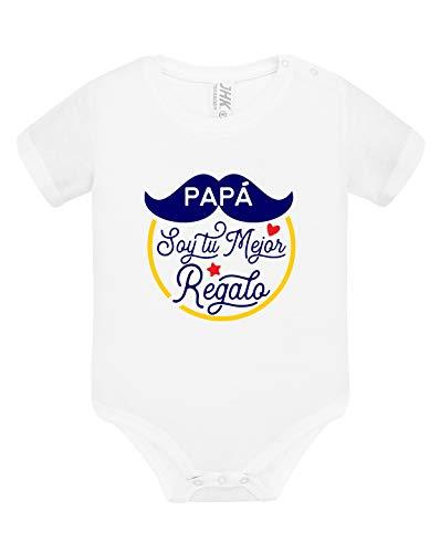 Los Eventos de la Tata. Body de Bebe para Regalar a Papá (3-6 Meses, Modelo Azul)