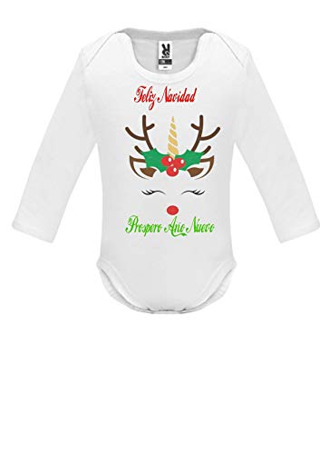 SAQUITOMAGICO Body Bebe Algodon Christmas Navidad (18-24, Bodi-Rena)