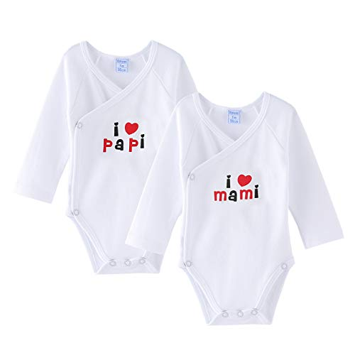 Amomí Body para Bebé, Pack de 2 unidades, 0 Mes Para Recién Nacidos ,Manga Larga, 100% algodón,...