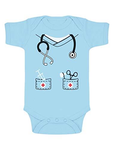 Body de Manga Corta para bebé - Dulce Disfraz de Enfermero para Bebés 0-3 Mes Celeste