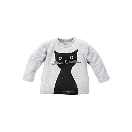 Pinokio - Happy Day - Camiseta de manga larga para niña 100% algodón, color negro y gris con gato...