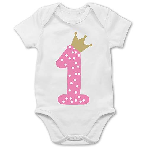 Shirtracer Geburtstag Baby - 1. Geburtstag Krone Mädchen Erster - Weiß - BZ10 - Baby Body Kurzarm...