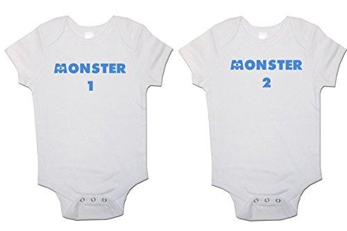 Twins - Conjunto de 2 chalecos para bebé Monster 1 y Monster 2 (newborn)