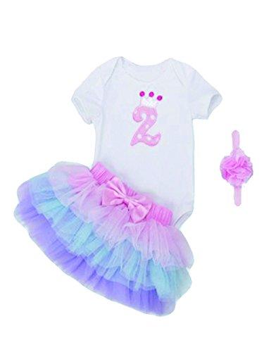 Mayo Naisi Cumpleaños bebé niña 3piezas romper + Ballet falda + Cinta Vestido de Fiesta,...