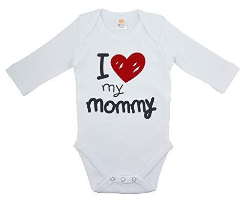 OZYOL I Love My Mommy - Body de manga larga para bebé (100% algodón, 3-24 meses) Blanco 3 mes