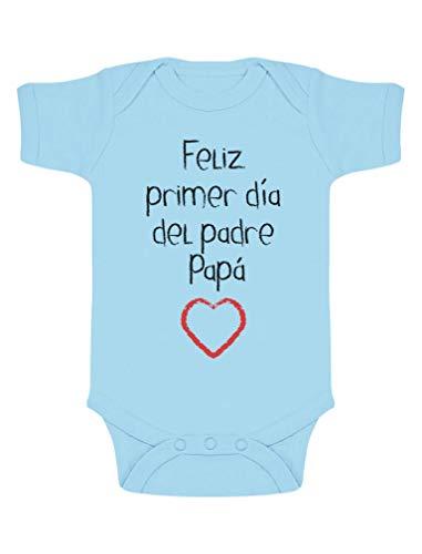 Body de Manga Corta para bebé - Regalo Padre Bebe - Feliz Primer Día del Padre - 3-6 Mes Celeste