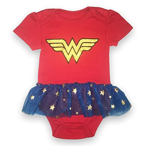 Wonder Body de manga corta para mujer - DC Comics bebé niñas Wonder Mujer Tutu Bodysuit - Rojo -...