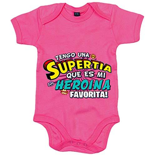 Body bebé tengo una Supertia que es mi heroína favorita regalo para tía - Rosa, Talla única 12...
