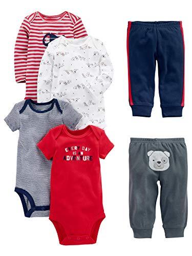 Simple Joys by Carter's Conjunto de 6 piezas de body para bebé (manga corta y larga) y pantalones...