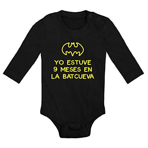 Body bebé 9 Meses en la Batcueva, Logo Comic Fan Art Parodia Batman. Bebé Friki. Manga Larga....