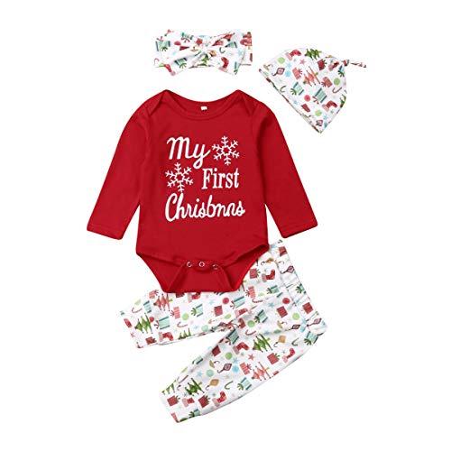 Bebé Recién Nacido Traje Mameluco Pantalones Diadema Sombrero Mi Primera Navidad Conjunto 4 Piezas...