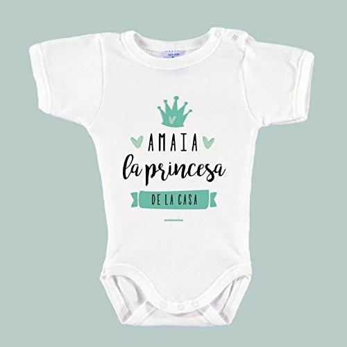 Body Bebé Personalizado con Nombre 100% Algodón Orgánico'Soy la princesa de la casa' (1 mes,...