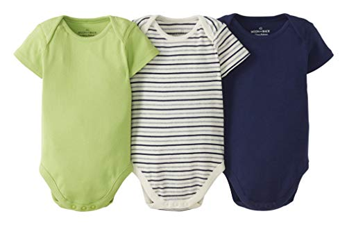 Moon and Back by Hanna Andersson 3 Pack Short Sleeve Bodysuit Infant-and-Toddler-Bodysuits, Azul...
