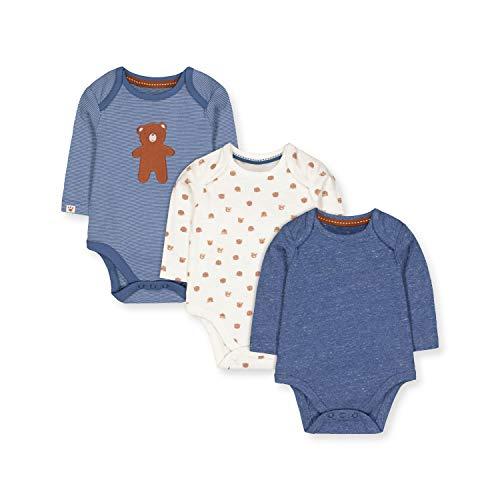 Mothercare NB IP 3pk LS Bodysuits Body, (Blue 128), Tiny Baby (Size:50) para Bebés