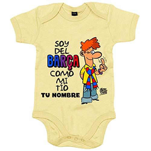 Body bebé frase parodia soy del Barcelona como mi tio personalizable con nombre - Amarillo, 6-12...