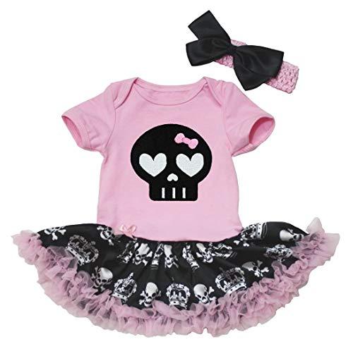 Petitebelle - Vestido para bebé con tutú y body, con dibujo de calavera negra, tallas desde...