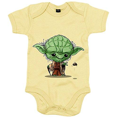 Body bebé Chibi Kawaii Maestro Yoda parodia de las galaxias Nikochan - Amarillo, Talla única 12...