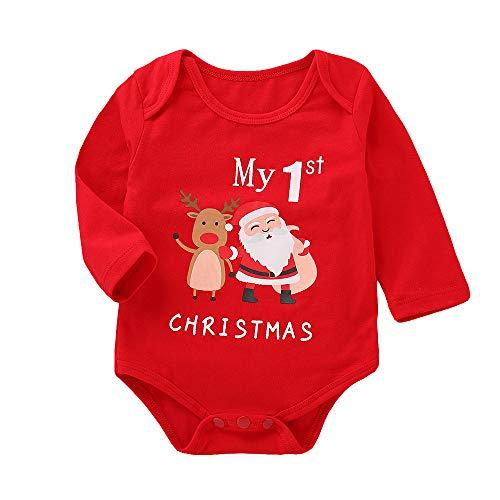 Navidad Ropa Bebe Recien Nacido Monos MY First Christmas Tops Bodies con Patrón de Papá Noel para...
