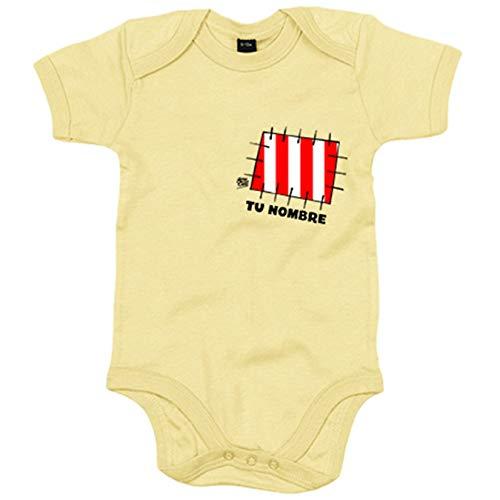 Body bebé Atlético de Madrid parche corazón colchonero personalizable con nombre - Amarillo,...