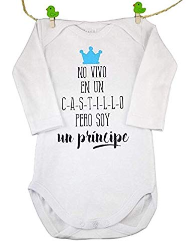 BODY BEBE ORIGINAL' NO VIVO EN UN CASTILLO PERO SOY UN PRINCIPE'. TALLA 3 MESES AZUL REGALO IDEAL...