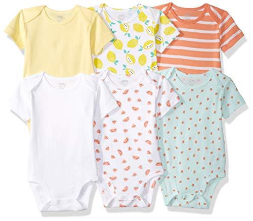 Amazon Essentials - Pack de 6 bodis de manga corta para niña, Girl Dots, Bebé prematuro