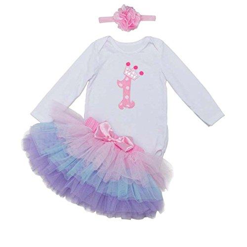 BabyPreg Primera Manga Larga tutú del cumpleaños del Equipo del Vestido de la Venda del bebé...