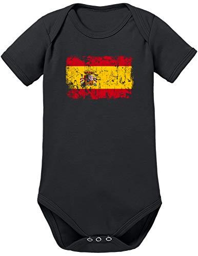 TShirt-People Body para bebé con la bandera de España vintage negro 0-3 Meses