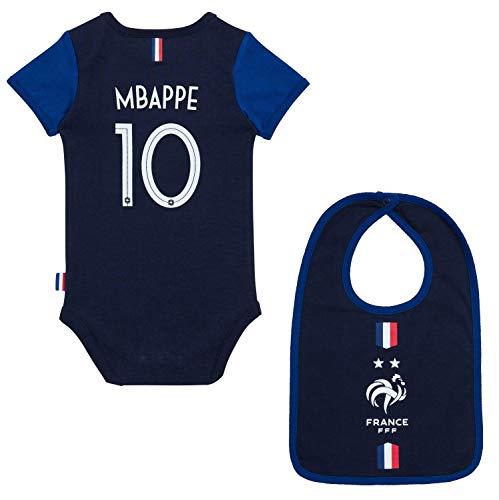 Kylian MBAPPE - Body de fútbol y Babero para bebé, colección Oficial, Bebé-Niñas, Azul, 3 Meses